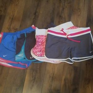 Nike and Under Armour athletic shorts